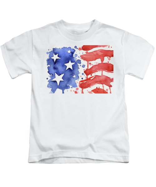 American Flag Watercolor Painting Kids T-Shirt
