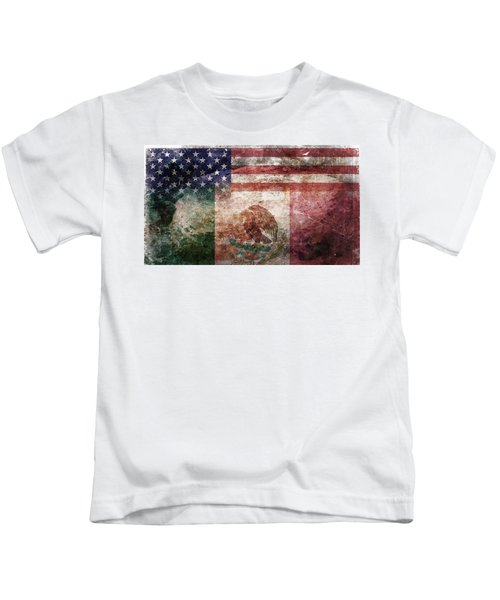 American Mexican Tattered Flag  Kids T-Shirt