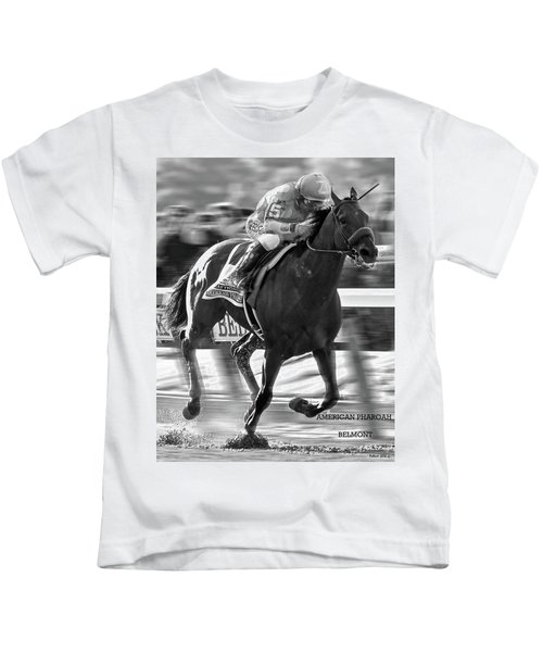 American Pharoah And Victor Espinoza Win The 2015 Belmont Stakes Kids T-Shirt by Thomas Pollart