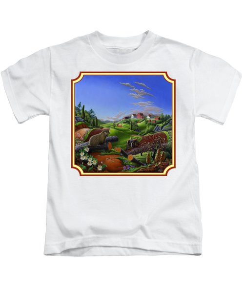 Americana Decor - Springtime On The Farm Country Life Landscape - Square Format Kids T-Shirt by Walt Curlee