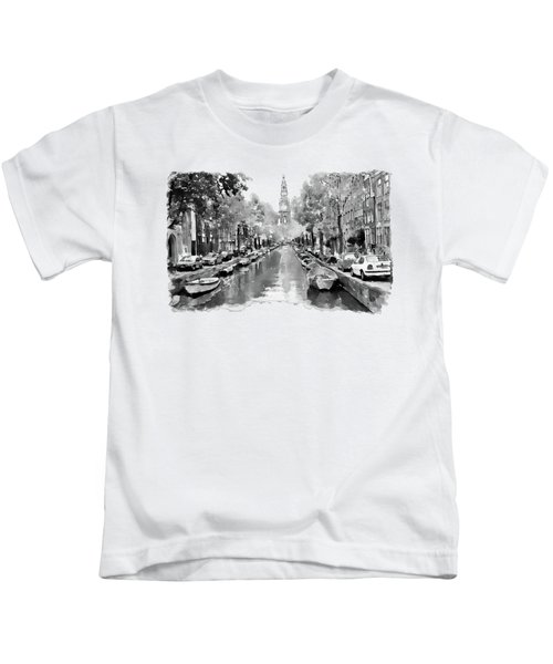 Amsterdam Canal 2 Black And White Kids T-Shirt