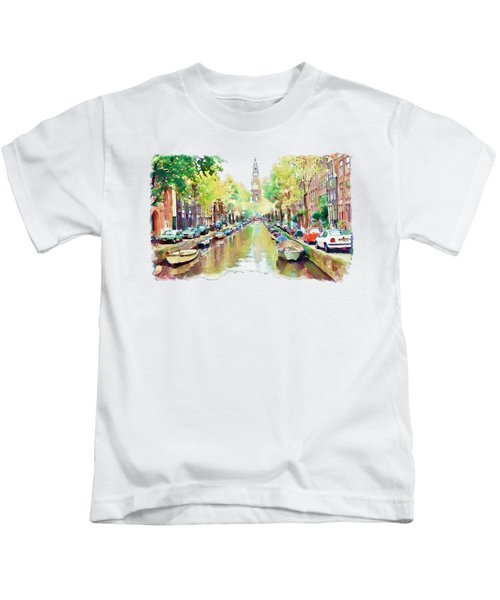 Amsterdam Canal 2 Kids T-Shirt by Marian Voicu