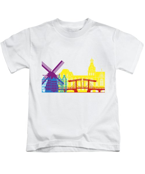 Amsterdam Skyline Pop Kids T-Shirt