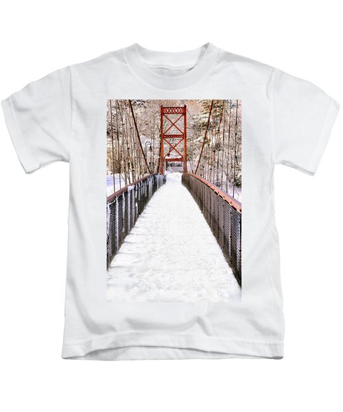 Androscoggin Swinging Bridge In Snow Kids T-Shirt