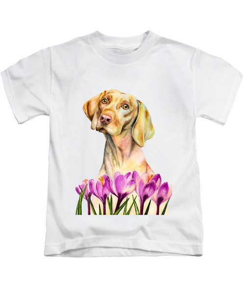 Angelic - Vizsla Dog And Crocus Watercolor Painting Kids T-Shirt
