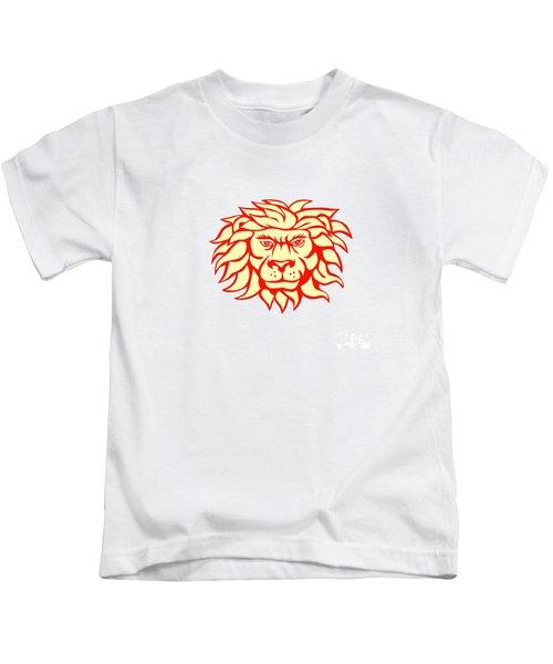 Angry Lion Big Cat Head Retro Kids T-Shirt