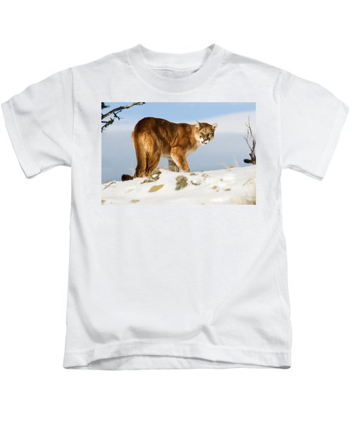 Angry Mountain Lion Kids T-Shirt