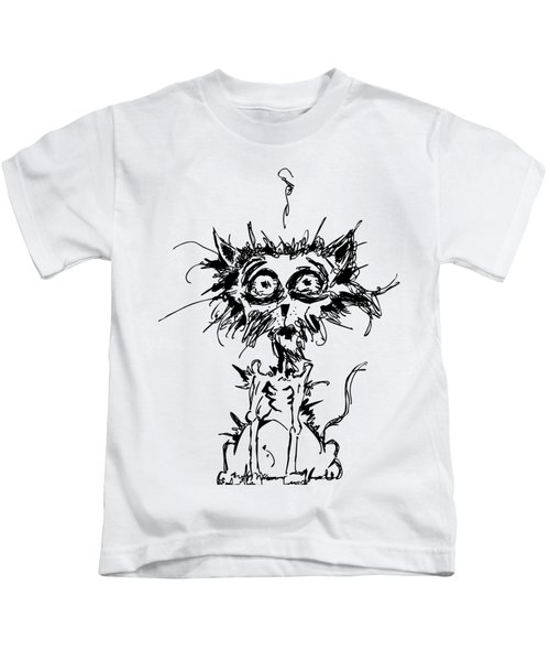 Angst Cat Kids T-Shirt by Nicholas Ely