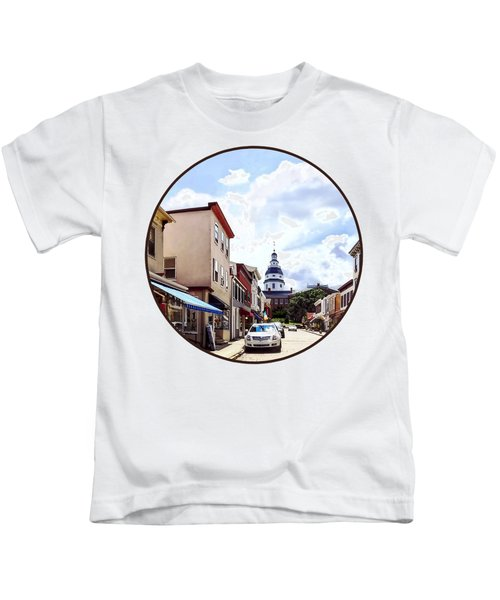 Annapolis Md - Shops On Maryland Avenue And Maryland State House Kids T-Shirt