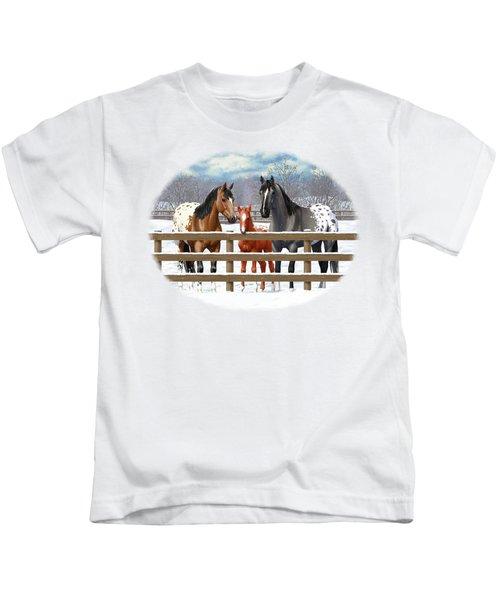 Appaloosa Horses In Winter Ranch Corral Kids T-Shirt