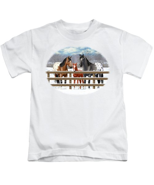 Appaloosa Horses In Winter Ranch Corral Kids T-Shirt