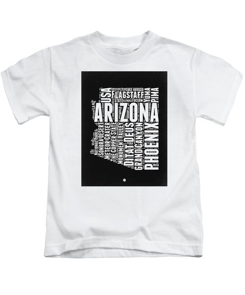 Arizona Black And White Word Cloud Map Kids T-Shirt by Naxart Studio