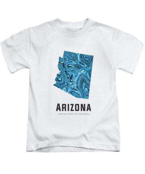 Arizona Map Art Abstract In Blue Kids T-Shirt
