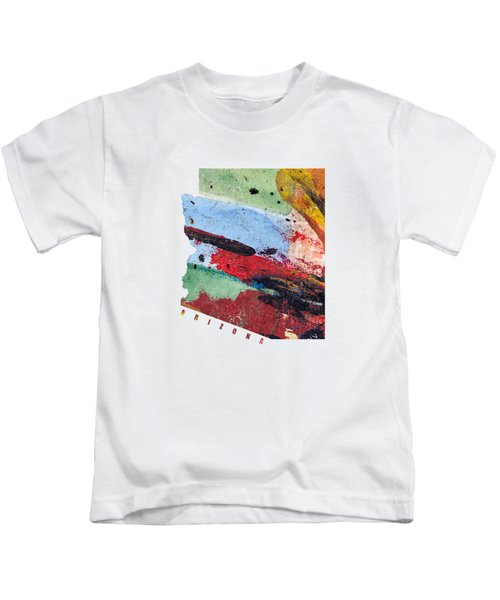 Arizona Map Art - Painted Map Of Arizona Kids T-Shirt