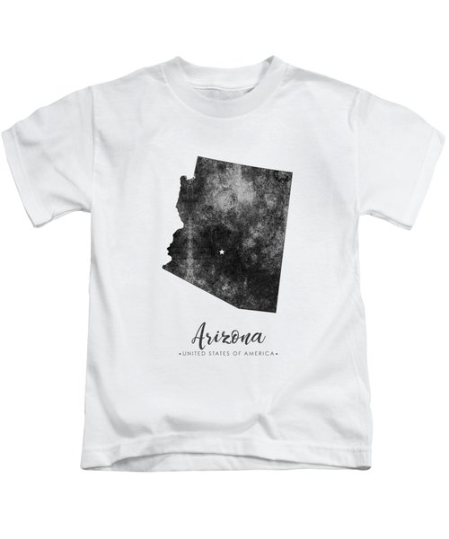 Arizona State Map Art - Grunge Silhouette Kids T-Shirt