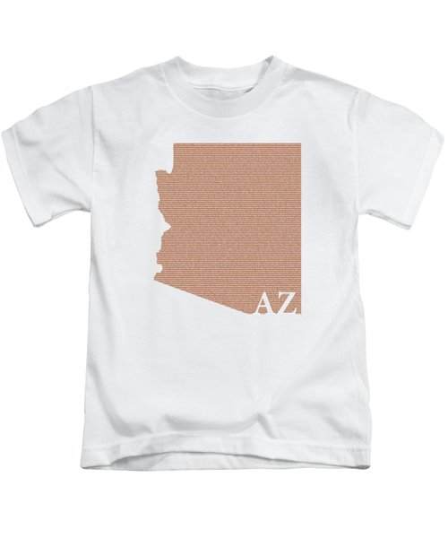 Arizona State Map With Text Of Constitution Kids T-Shirt by Design Turnpike