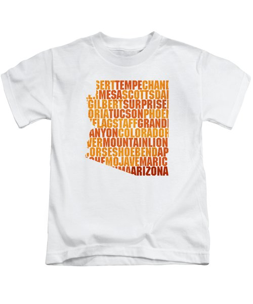 Arizona State Outline Word Map Kids T-Shirt by Design Turnpike