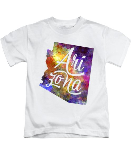 Arizona Us State In Watercolor Text Cut Out Kids T-Shirt