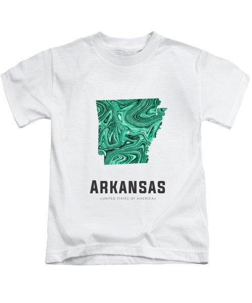 Arkansas Map Art Abstract In Green Kids T-Shirt