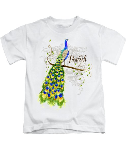 Art Nouveau Peacock W Swirl Tree Branch And Scrolls Kids T-Shirt by Audrey Jeanne Roberts