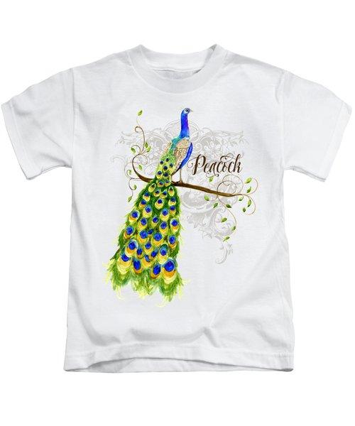 Art Nouveau Peacock W Swirl Tree Branch And Scrolls Kids T-Shirt