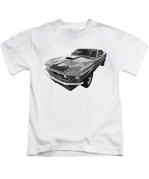 428 Cobra Jet Mach1 Ford Mustang 1969 In Black And White Kids T-Shirt by Gill Billington