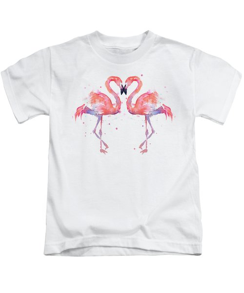 Flamingo Love Watercolor Kids T-Shirt