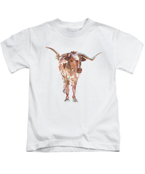 The Original Longhorn Standing Earth Quack Watercolor Painting By Kmcelwaine Kids T-Shirt