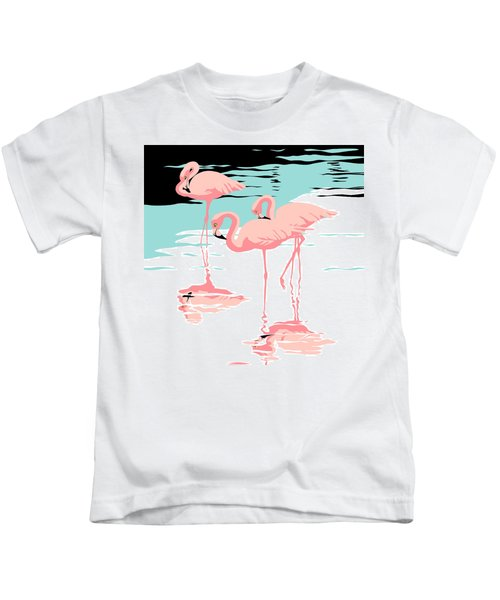 Pink Flamingos Tropical 1980s Abstract Pop Art Nouveau Graphic Art Retro Stylized Florida Print Kids T-Shirt by Walt Curlee