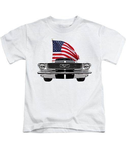 Patriotic Mustang On White Kids T-Shirt
