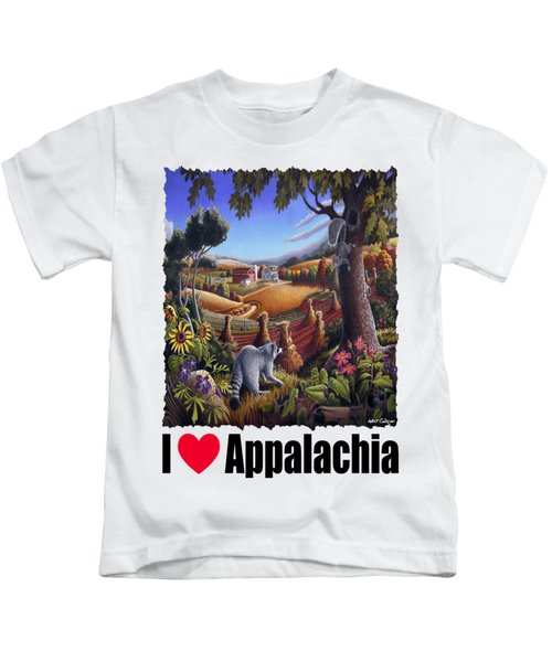 I Love Appalachia - Coon Gap Holler Country Farm Landscape 1 Kids T-Shirt by Walt Curlee