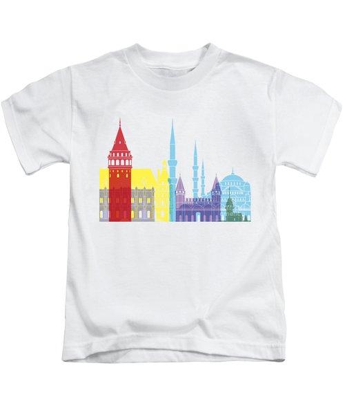 Istanbul Skyline Pop Kids T-Shirt by Pablo Romero