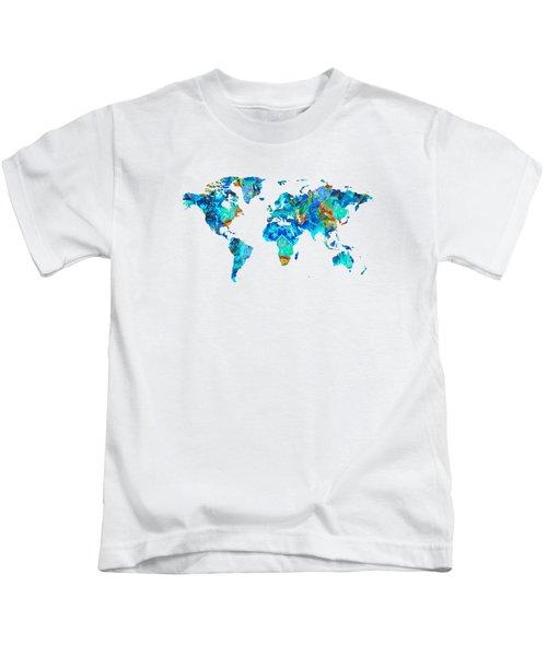 World Map 22 Art By Sharon Cummings Kids T-Shirt