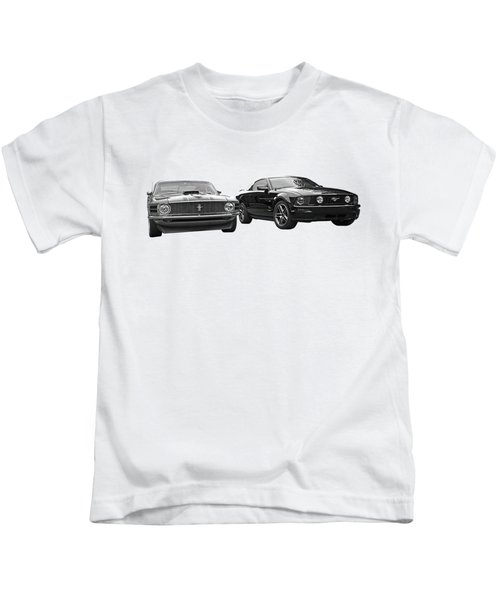 Mustang Buddies In Black And White Kids T-Shirt