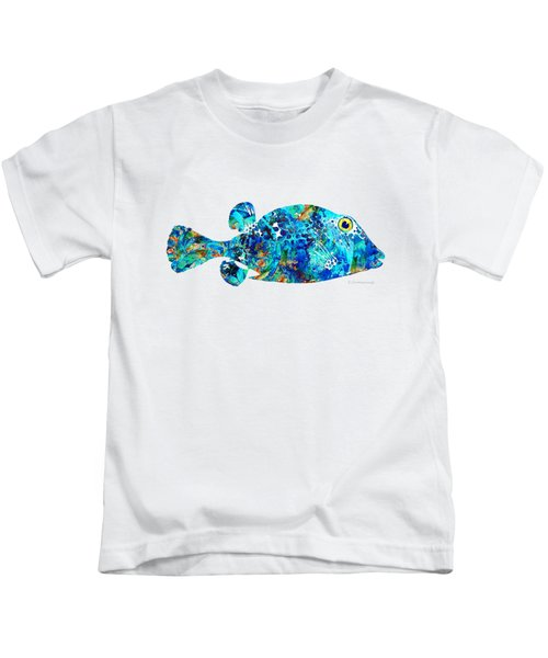 Blue Puffer Fish Art By Sharon Cummings Kids T-Shirt by Sharon Cummings
