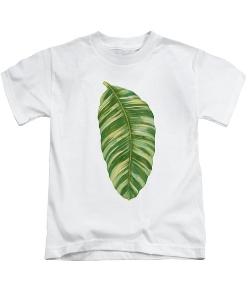 Rainforest Resort - Tropical Leaves Elephant's Ear Philodendron Banana Leaf Kids T-Shirt