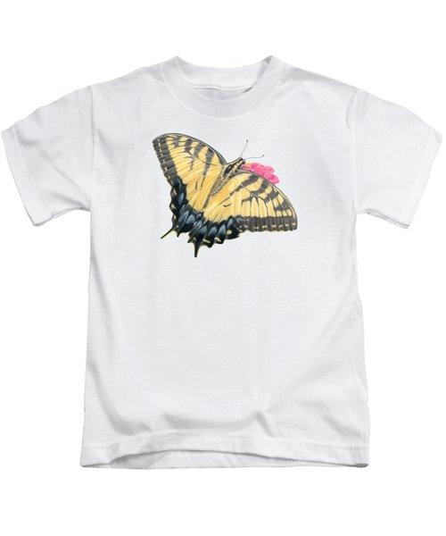 Swallowtail Butterfly And Zinnia- Transparent Backgroud Kids T-Shirt