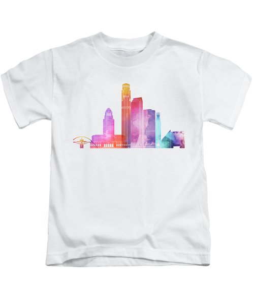 Los Angeles Landmarks Watercolor Poster Kids T-Shirt by Pablo Romero