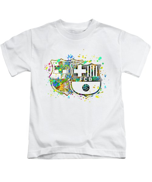 Tribute To F C Barcelona 7 Kids T-Shirt by Alberto RuiZ