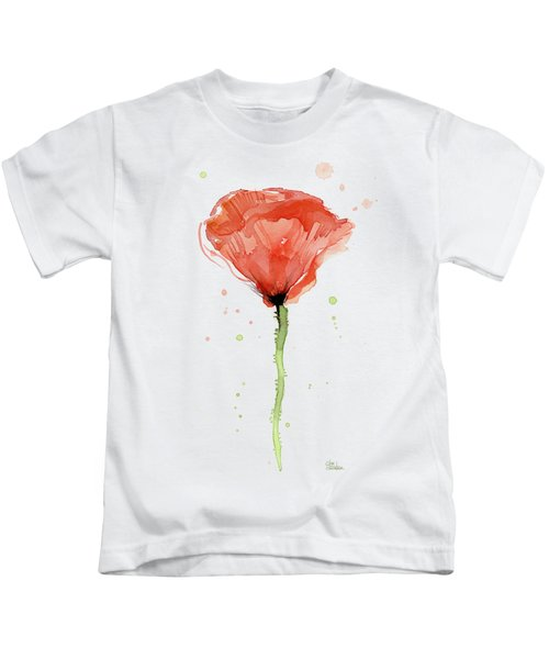 Abstract Red Poppy Watercolor Kids T-Shirt