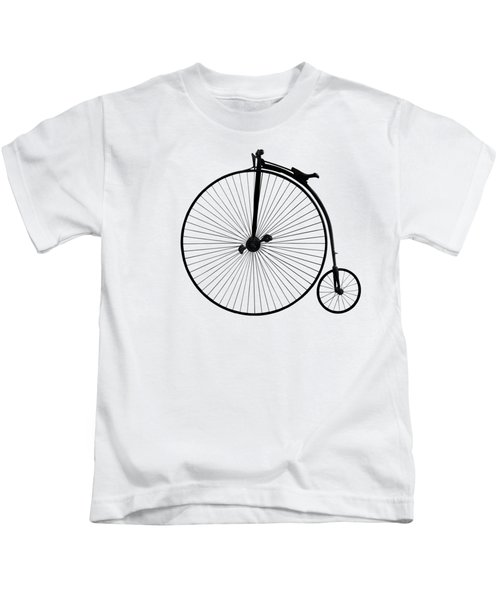 Penny Farthing Black On White Kids T-Shirt