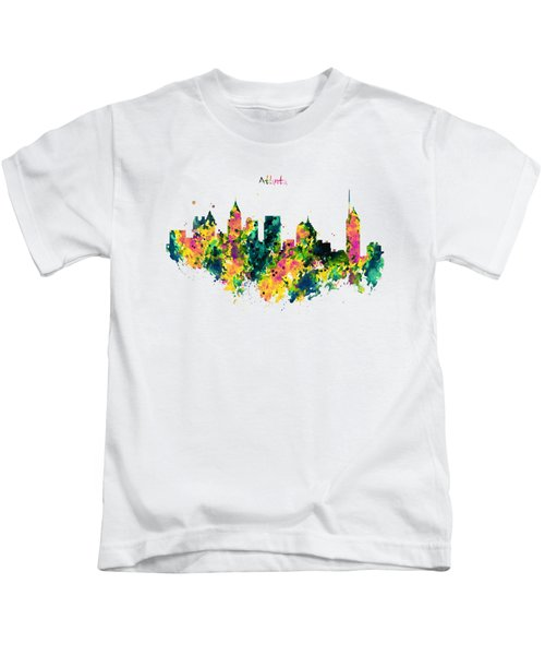 Atlanta Watercolor Skyline  Kids T-Shirt by Marian Voicu