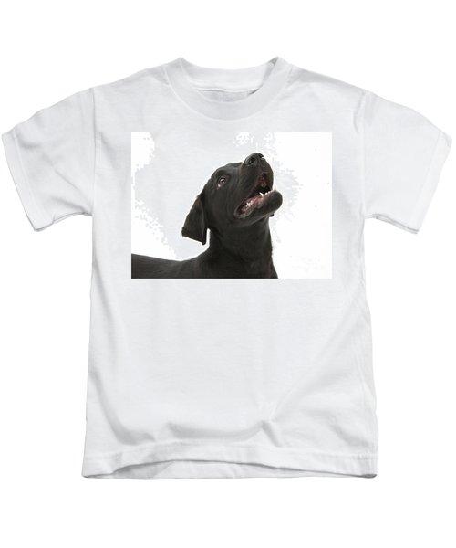 Attentive Black Lab Pup Kids T-Shirt