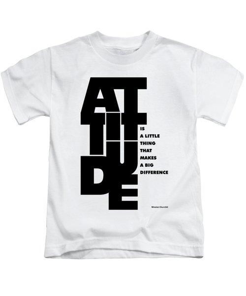 Attitude - Winston Churchill Inspirational Typographic Quote Art Poster Kids T-Shirt