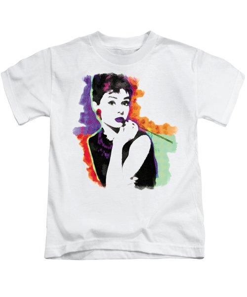 Audrey Hepburn Pop-art Kids T-Shirt by Magdalena Raszewska