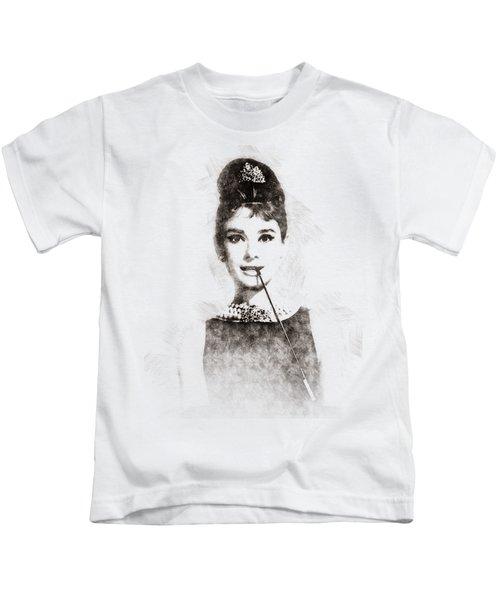 Audrey Hepburn Portrait 01 Kids T-Shirt by Pablo Romero