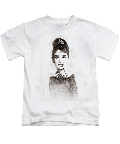 Audrey Hepburn Portrait 01 Kids T-Shirt
