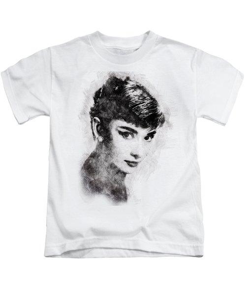 Audrey Hepburn Portrait 03 Kids T-Shirt by Pablo Romero