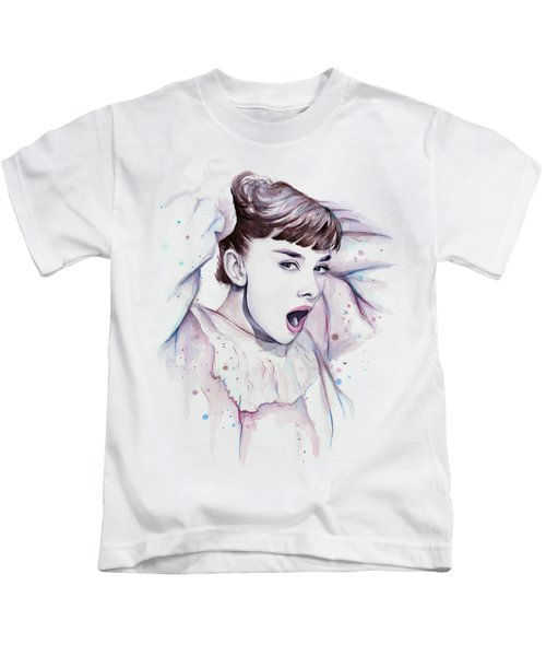 Audrey - Purple Scream Kids T-Shirt by Olga Shvartsur