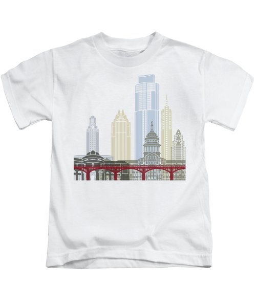 Austin Skyline Poster Kids T-Shirt by Pablo Romero